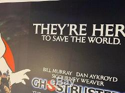 Ghostbusters Original Uk Quad Affiche De Film Entoilée 1984 Bill Murray