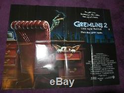 Gremlins 2 II 1990 Warner Bros Affiche De Cinéma Film Quad Original Vintage 40 30
