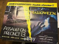 Halloween (1978) Original Quad Movie Poster Plus Quad Supplémentaire D'assaut / Halloween