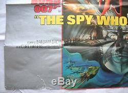 James Bond, L'espion Qui Me Aimait, Orig 1977 Quad Film Affiche Du Film, Roger Moore
