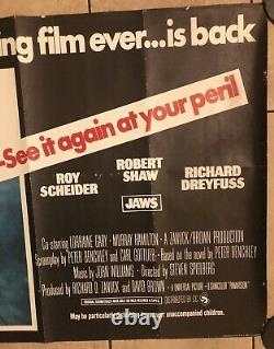 Jaws Rerelease Original Uk Movie Quad (1976)