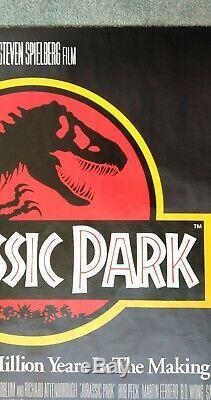 Jurassic Park (1993) Original Affiche Du Film Quad Uk Lamine Dépliée