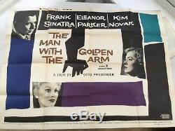 L'homme Au Bras Doré U. K. Quad Affiche Du Film Sinatra 30x40 1956 Saul Bass