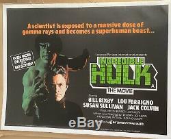 L'incroyable Hulk Uk Quad Entoilée (1979) Original Film Affiche Vintage