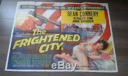 La Effrayé Ville 1961 Royaume-uni British Film Original Quad Poster Sean Connery