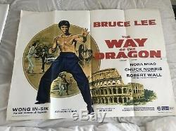 La Voie Du Dragon Bruce Lee Affiche Originale Du Film Quad De Sortie Au Cinéma Britannique