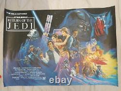 Le Retour De L'affiche Originale De Cinéma De Jedi British Quad 1983 Rare Rolled Star Wars