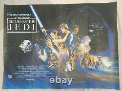 Le Retour De L'affiche Originale De Cinéma De Jedi British Quad 1983 Rare Star Wars