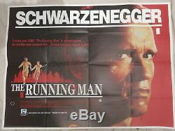 Le Running Man 1987 Original Uk Quad Affiche De Film Schwarzenegger Sci-fi