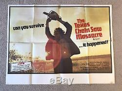 Le Texas Chainsaw Massacre 1974 Original Film X Quad Poster (locale) Très Rare