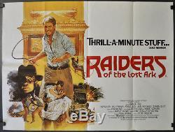 Les Aventuriers De L'arche Perdue R-1982 29x40 Affiche De Cinéma Britannique Quad Harrison Ford