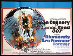 Les Diamants Sont Éternels Sean Connery James Bond 1971 British Quad Affiche Du Film Nm