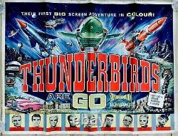 Les Thunderbirds Vintage D'origine Sont Go Uk Quad Film Poster Gerry Anderson 30x40