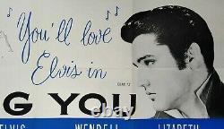 Loving You (1957) Poster De Cinéma Quad Britannique Original Elvis Presley Très Rare
