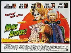 Mars Attacks! Tim Burton 1996 Double Face Britannique Quad Rolled