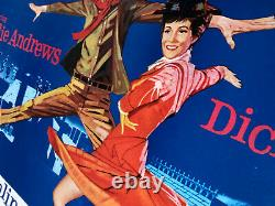 Mary Poppins Original Uk Quad Linen Backed 1964 Disney Julie Andrews Affiche De Film