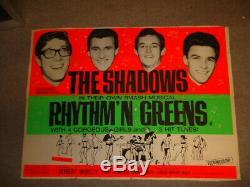 Mega Rare Uk Quad Affiche Du Film Rhythm N Verts The Shadows + Cartes De Pression