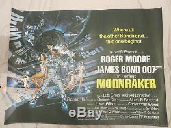 Moonraker Originale Rolled Uk Quad Affiche De Film 1979 Signé Par Roger Moore
