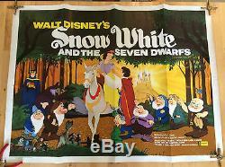 Neige De Walt Disney Blanc Et Les Sept Nains British Film Quad Poster Rr 1970
