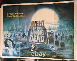 Night Of The Living Dead! R'80 Romero-d Cult Original U.k. Quad Film Poster