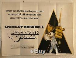 Orange Originale Britannique Affiche De Film Kubrick 1972 Royaume-uni Quad