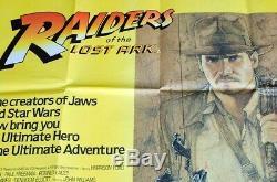 Original 1981 Aventuriers De L'arche Perdue Britannique Quad Affiche Du Film 30 X 40 Vf (c8)