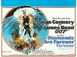 Original James Bond Film Poster Diamonds Are Forever Uk Quad'71