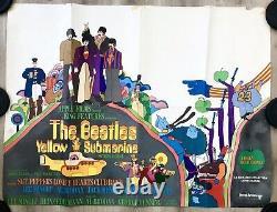 Original Vintage Yellow Submarine Quad Film Cinema Beatles Movie Poster 1968