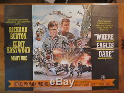 Où Les Aigles Osent L'affiche Britannique Quad Clint Eastwood Richard Burton 1968