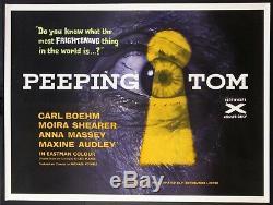 Peeping Tom Michael Powell Horror Années 1960 Pays D'origine Britannique Quad Near Mint