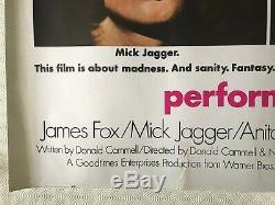 Performance Originale Britannique Film Quad Poster 1970 Mick Jagger James Fox