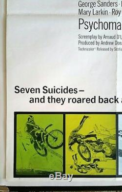 Psychomanie Originale 1973 Affiche Du Film Quad Britannique Cult Biker Gang Zombie Horror