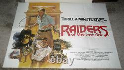Raiders Of The Lost Ark Original 1981 Rare Affiche De Cinéma Quad Britannique Harrison Ford