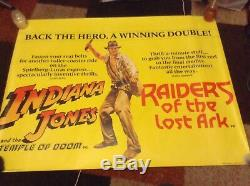 Rare Indiana Jones Temple Of Doom Raiders Ark Affiche Originale Britannique Quad Film