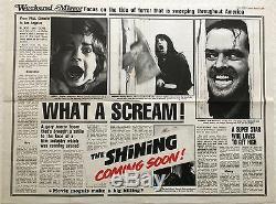 Rare Le Teaser Brillante Originale Britannique Film Quad 1980 Kubrick Roi Nicholson