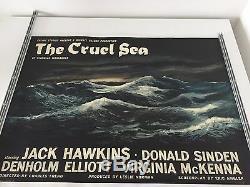 Rare Lin-backed Style-un Film Britannique Quad Affiche Du Film The Cruel Sea 1953