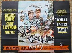 Rare Originale Where Eagles Dare Film Quad Affiche 1968 Clint Eastwood