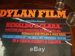 Rare Vintage Le Film Bob Dylan Renaldo & Clara 1978 Uk Quad Affiche