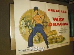 Retour Du Dragon / Orig. Brit. Affiche Du Film Quad (bruce Lee / Chuck Norris)