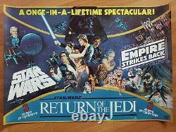 Retour Du Jedi + Star Wars Triple! Rares Affiches Quad Royaume-uni1983 Mint S'est Déroulé