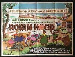 Robin Hood Affiche Originale Quad Film Disney Classique D'animation 1973