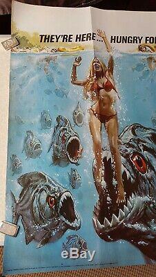 Royaume-uni D'origine Quad Affiche Du Film -1978'piranha ' Very Fine Etat