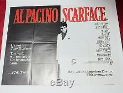 Scarface Original 1983 Uk Quad Affiche De Film Crime Cinéma Cru Gangster Pacino