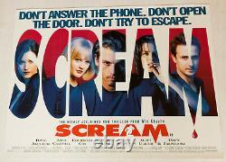 Scream Original 1997 Royaume-uni Quad Film Poster Cinéma Wes Craven Neve Campbell Cox