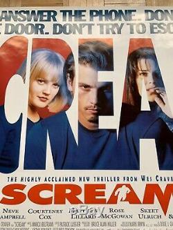 Scream Royaume-uni British Cinema Quad Affiche Du Film Original Rare D / S 1996 Rolled 40x30