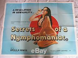 Secrets D'un Nymphomane Originale Uk Quad Affiche De Film Plié 1979 Adulte Porn