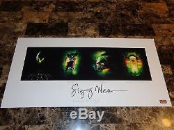 Sigourney Weaver Rare Signé Alien Quad Art Poster Film Affiche Ripley Coa 50/50