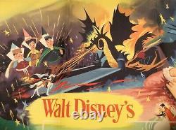 Sleeping Beauty Uk Quad Original Film Poster Walt Disney 1959 Très Rare
