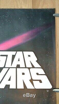 Star Wars (1977) Affiche Originale De Film Quad Pre-oscars Uk Lamine Dépliée