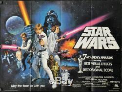Star Wars 1977 Orig 30x40 British Academy Award Quad Affiche Du Film Harrison Ford